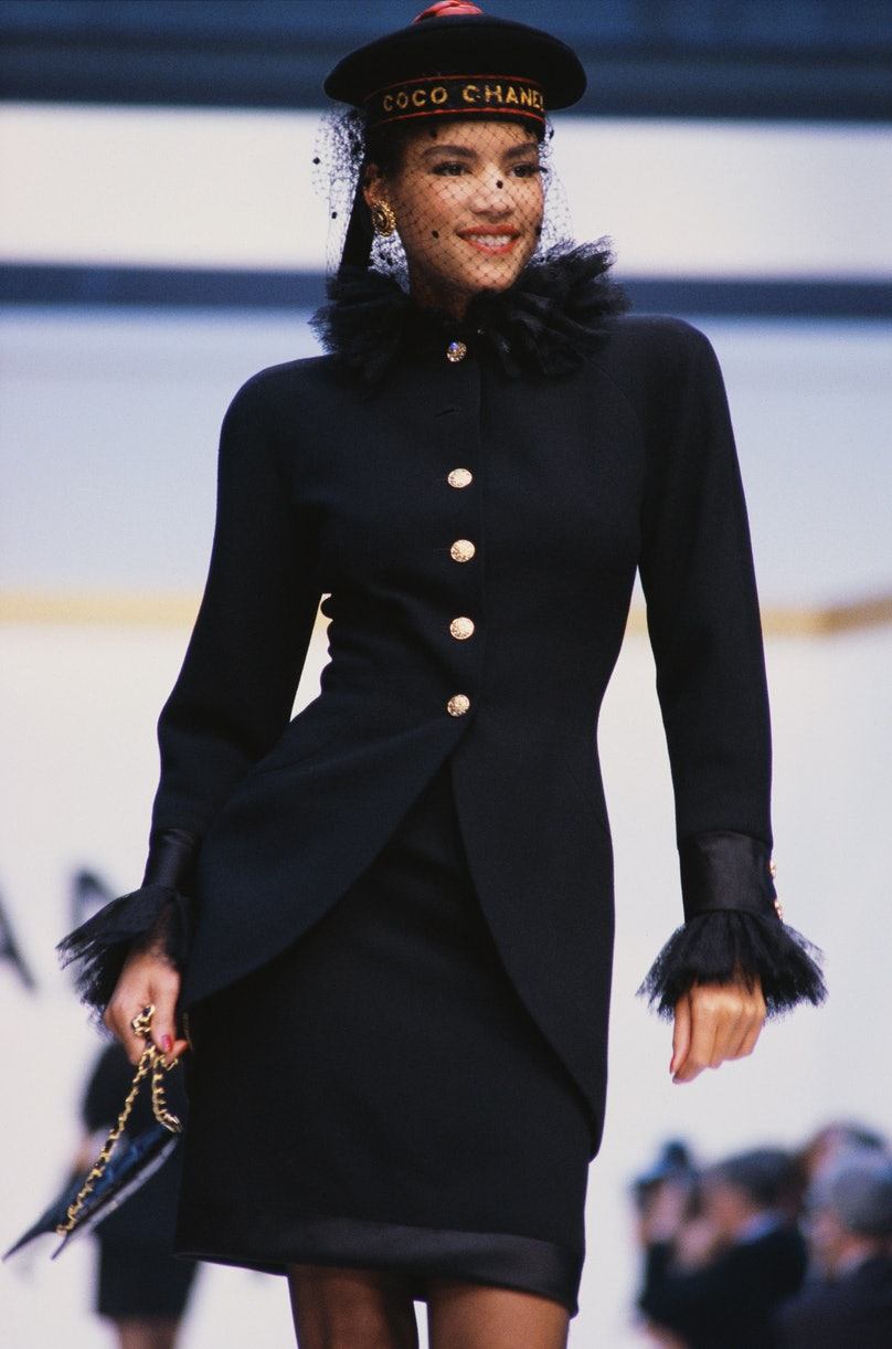 Supermodel Veronica Webb Wearing Chanel Winter Couture Collection