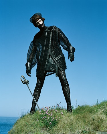 Proenza Schouler mesh coat and woven leather skirt. Alexander Wang merino wool fishnet turtleneck. E...