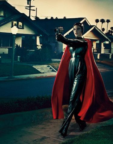 Atsuko Kudo latex cape. Valentino leather jumpsuit. The Baroness latex top. House of Harlot gloves; ...