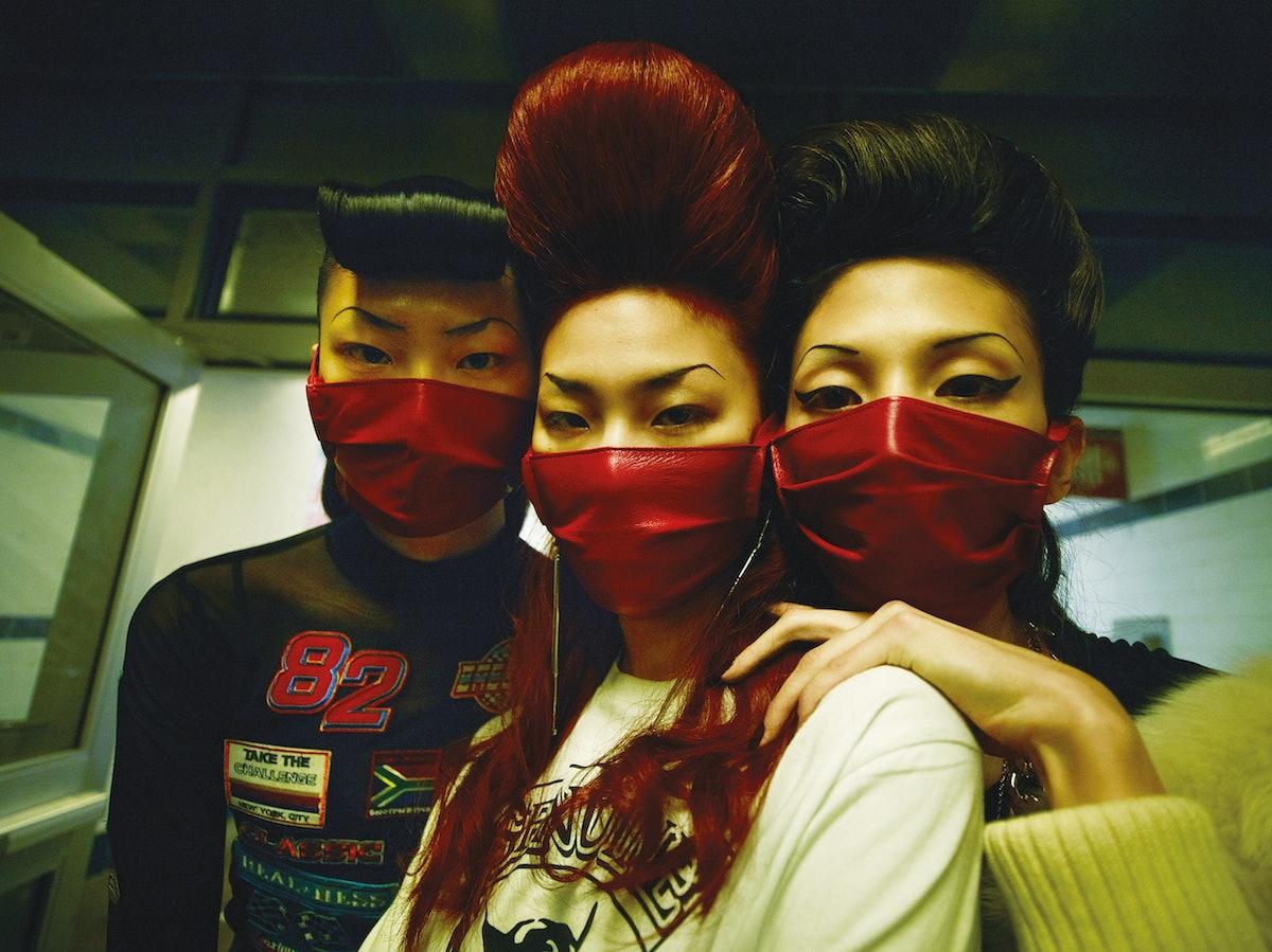From left: Angela Friedman bralette; David Samuel Menkes Custom Leatherwear mask (throughout); model...