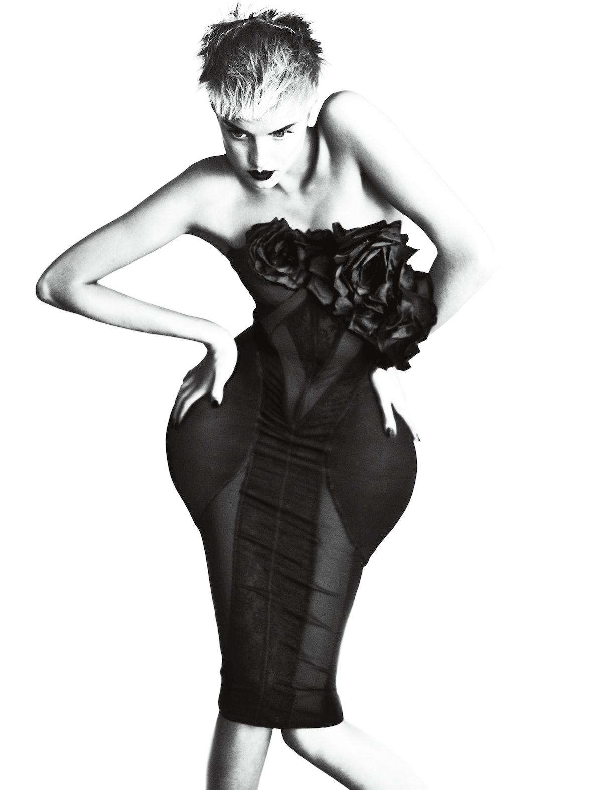 Alexander McQueen's black viscose dress, at Alexander McQueen, New York.
