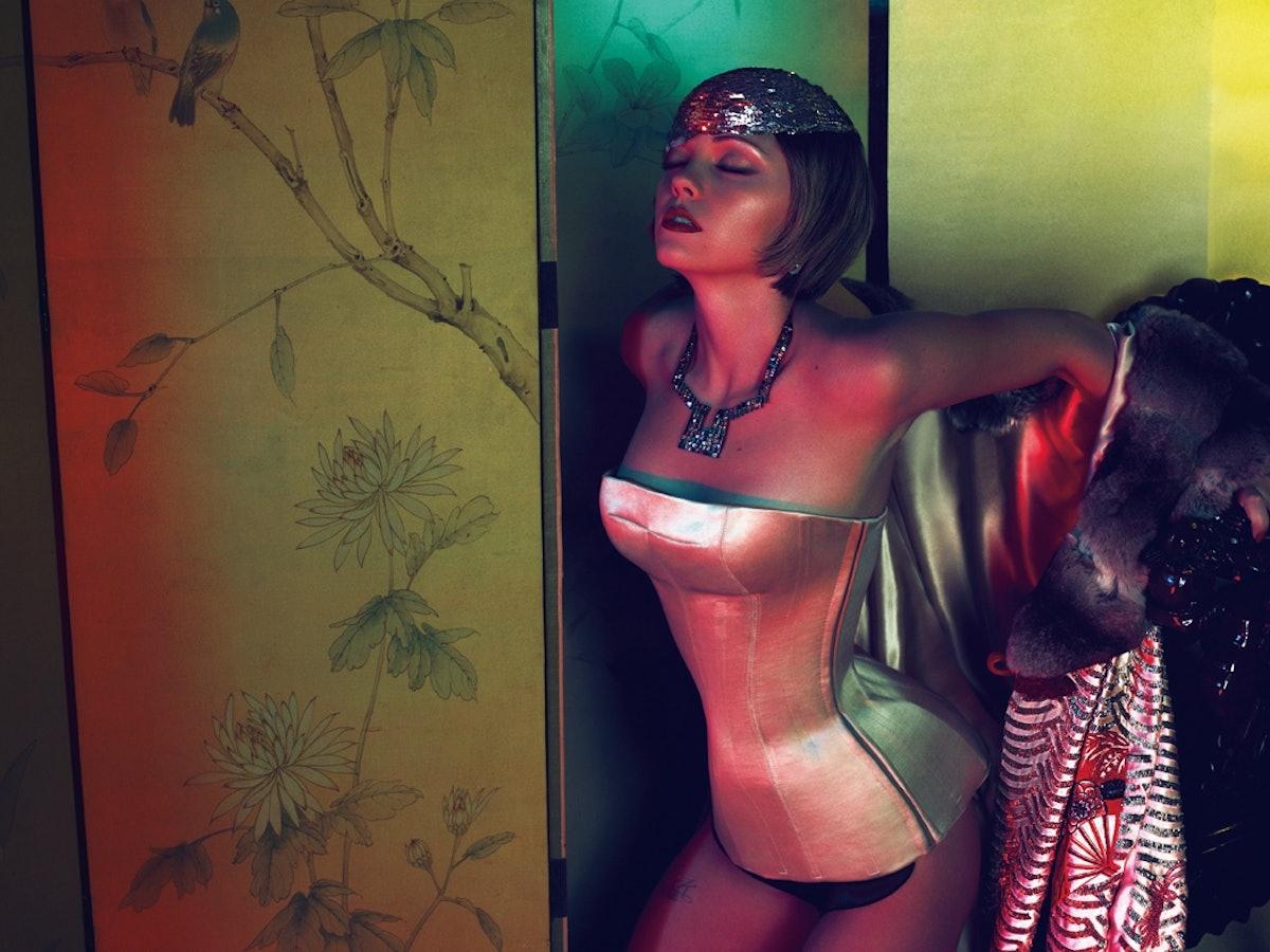 Christina Ricci in Alexander McQueen's bustier and Roberto Cavalli's coat