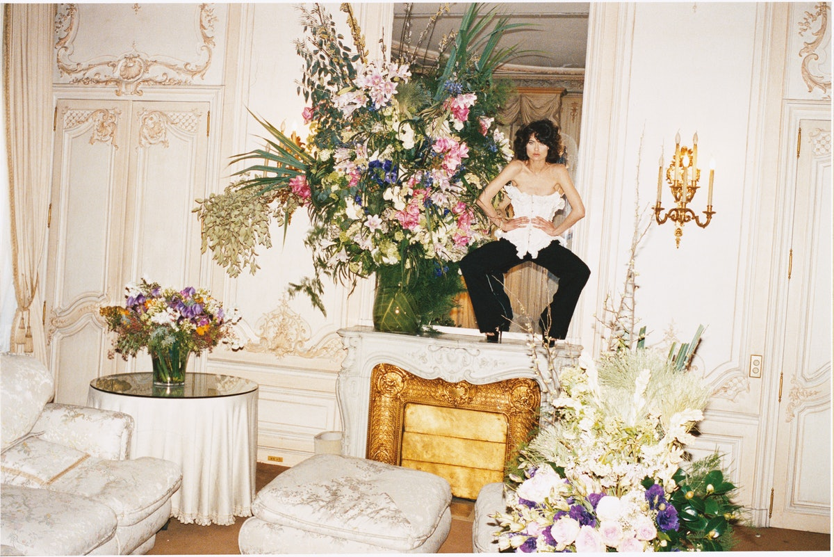 Gaultier Paris's silk corset and wool pants, to order at Gaultier Paris, Paris. Gaultier Paris shoes...