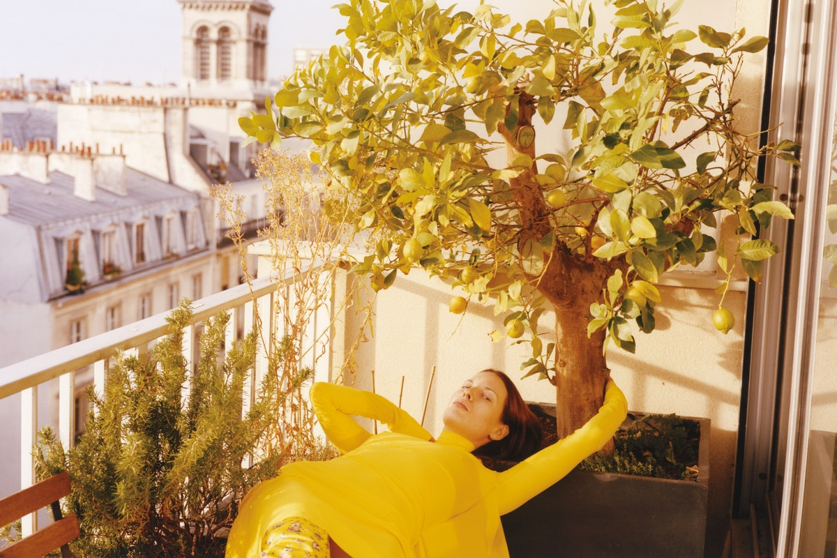 Vetements fit model Lily Standefer, at home in Paris, wearing pieces from the Vetements spring colle...