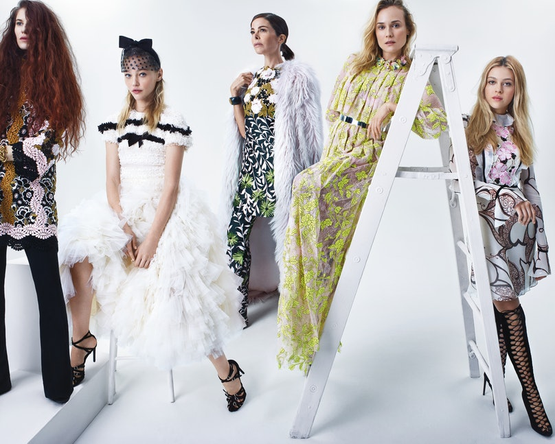 CHIC CHICKSFrom left: Photographer Emma Summerton, model Sasha Pivovarova, film producer Allison Sarofim, and actresses Diane Kruger and Nicola Peltz. All wear Giambattista Valli Haute Couture, Giambattista Valli, and Giamba. Sarofim's own Verdura cuffs. For stores, prices, and more, go to Wmag.com/where-to-buy-june-2015.