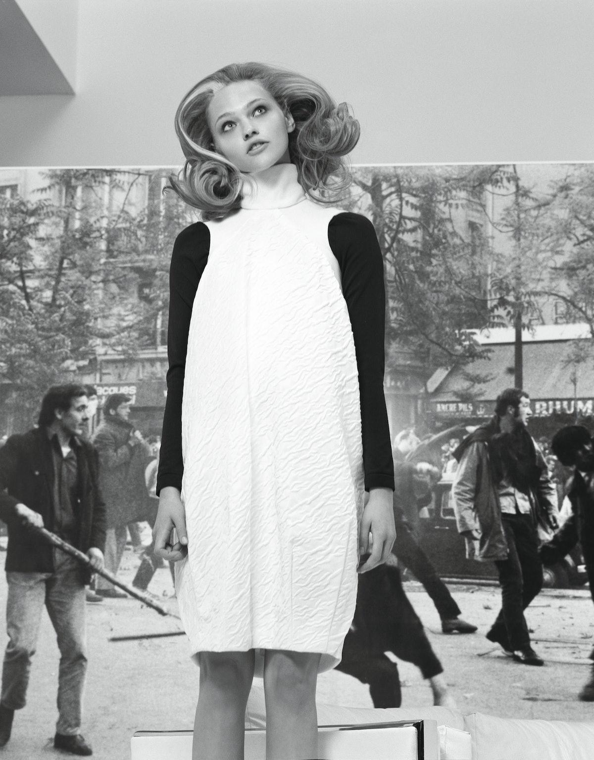 Balenciaga's white cotton and silk dress, by Nicolas Ghesquière, at Balenciaga, New York; Wolford's ...