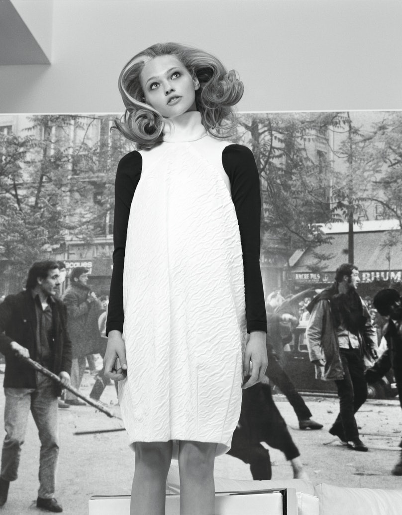 Balenciaga's white cotton and silk dress, by Nicolas Ghesquière, at Balenciaga, New York; Wolford's black polyamide, cotton and elastin turtleneck, at Bergdorf Goodman, New York; Wolford, 800.WOLFORD, wolford.com.