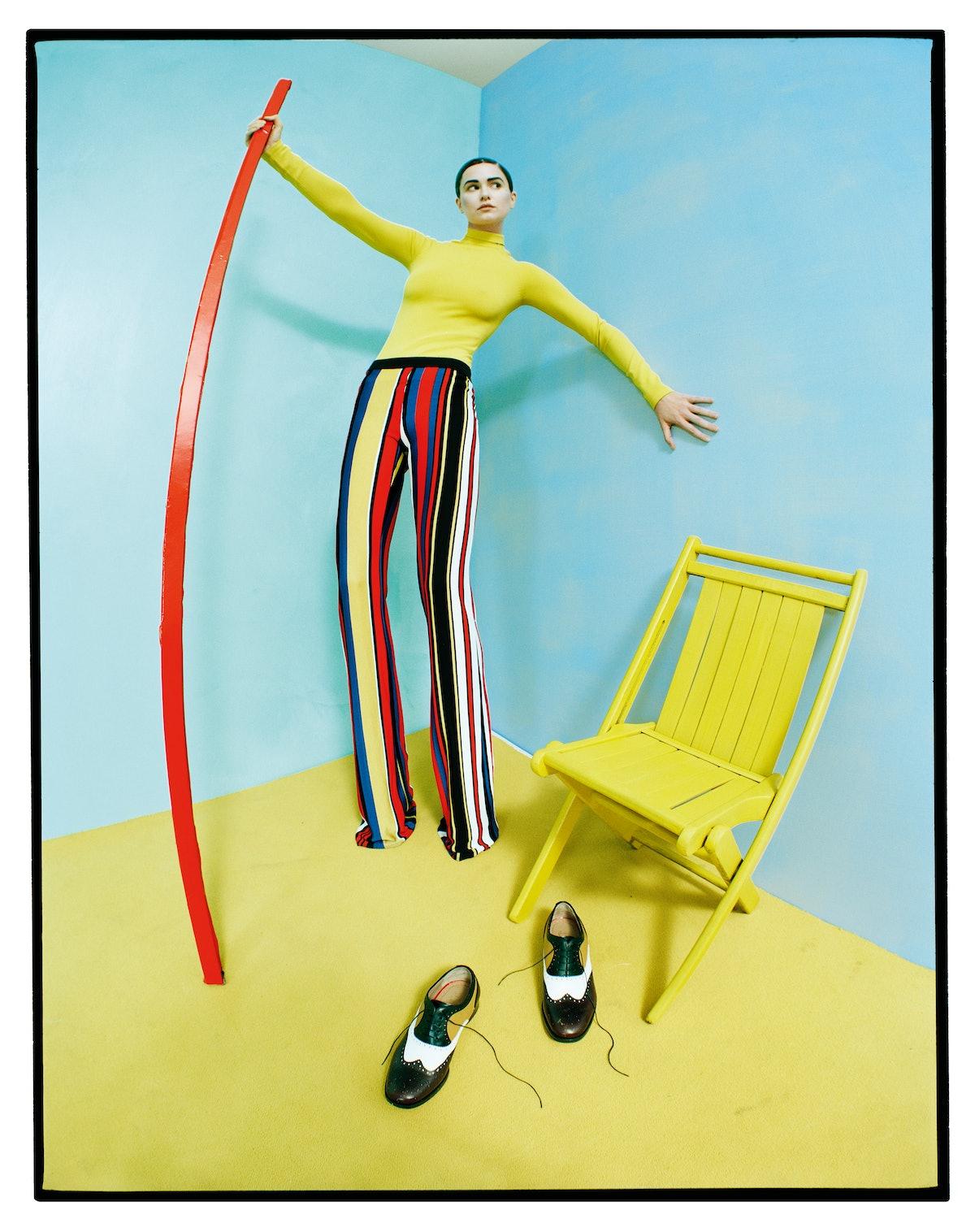 T by Alexander Wang turtleneck; Balmain trousers; Christian Louboutin flats.