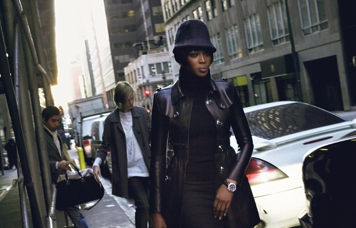 Burberry Prorsum's leather trenchcoat, at Burberry; Ralph Lauren's cashmere turtleneck, at select Ra...