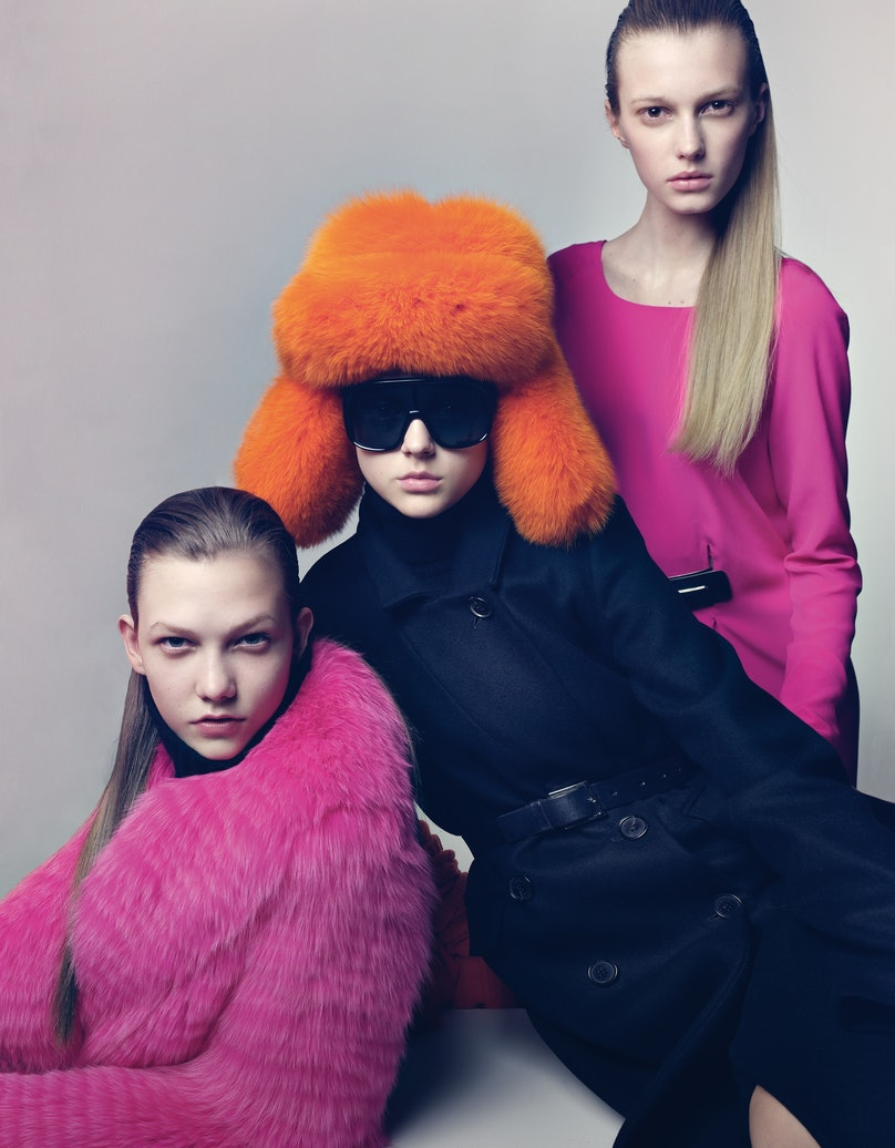 FROM LEFT: MICHAEL KORS'S FOX FUR COAT, AT THE FUR SALON, SAKS FIFTH AVENUE, NEW YORK, AND MERINO WOOL TURTLENECK, AT MICHAEL KORS, NEW YORK; SELECT SAKS FIFTH AVENUE STORES, SAKS.COM. MICHAEL KORS'S STRETCH WOOL DRESS-COAT, AT BERGDORF GOODMAN, NEW YORK; BLOOMINGDALE'S, BLOOMINGDALES.COM, AND CASHMERE TURTLENECK DRESS, AT SAKS FIFTH AVENUE, SAKS.COM; MICHAELKORS.COM. MICHAEL KORS HAT, SUNGLASSES AND BELT. VERSACE'S SILK DRESS, AT SELECT VERSACE STORES, 888.721.7219. VERSACE BELT.