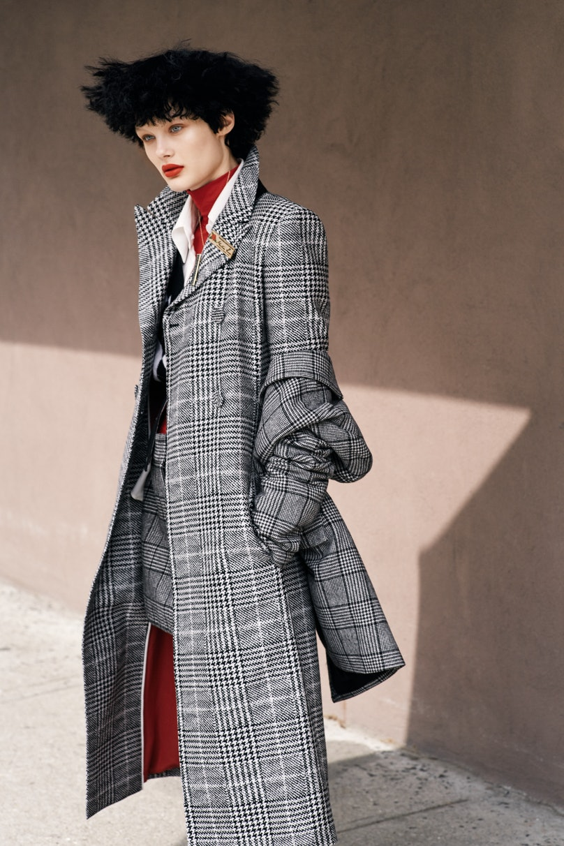 Tibi blazer and skirt; Fendi coat and shirt; Thom Browne vest; Tees by Tina turtleneck. Beauty note: To erase fine lines where you don't want them, try Clarins Double Serum Complete Age Control Concentrate. For stores, prices, and more, go to Wmag.com/where-to-buy-september-2017.