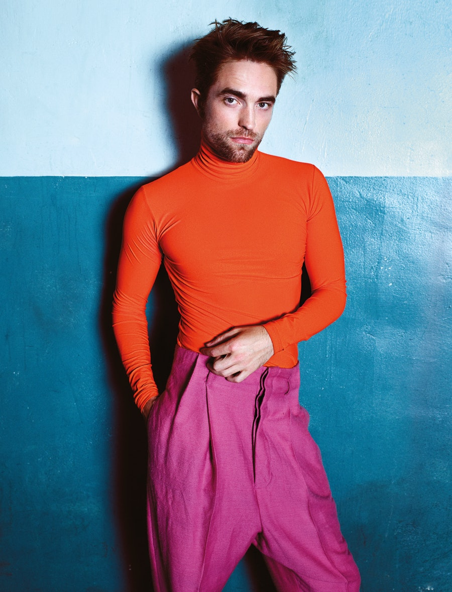 Robert Pattinson wears Dior Homme turtleneck; Haider Ackermann pants.