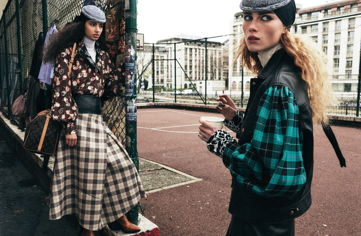 From left: Louis Vuitton shirt, turtleneck, skirt, hat, bag, and boots; Foundrae necklace; stylist's...
