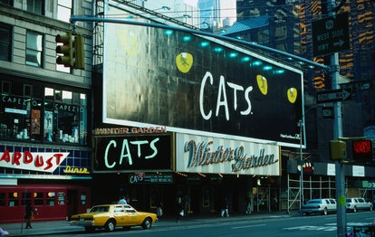 Broadway Theatre advertisements for Cats the musical above a theatre in the Theatre District - New Y...