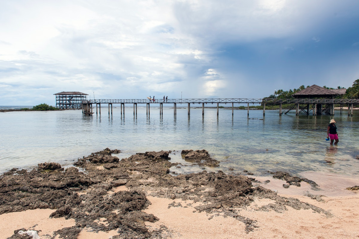 The jetty at Cloud 9, a reef break fuelled by the Philippine