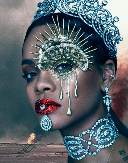 CARTIER TIARA, EARRINGS, AND NECKLACE; RIHANNA'S OWN CUFF EARRING AND CHAIN NECKLACE (THROUGHOUT).