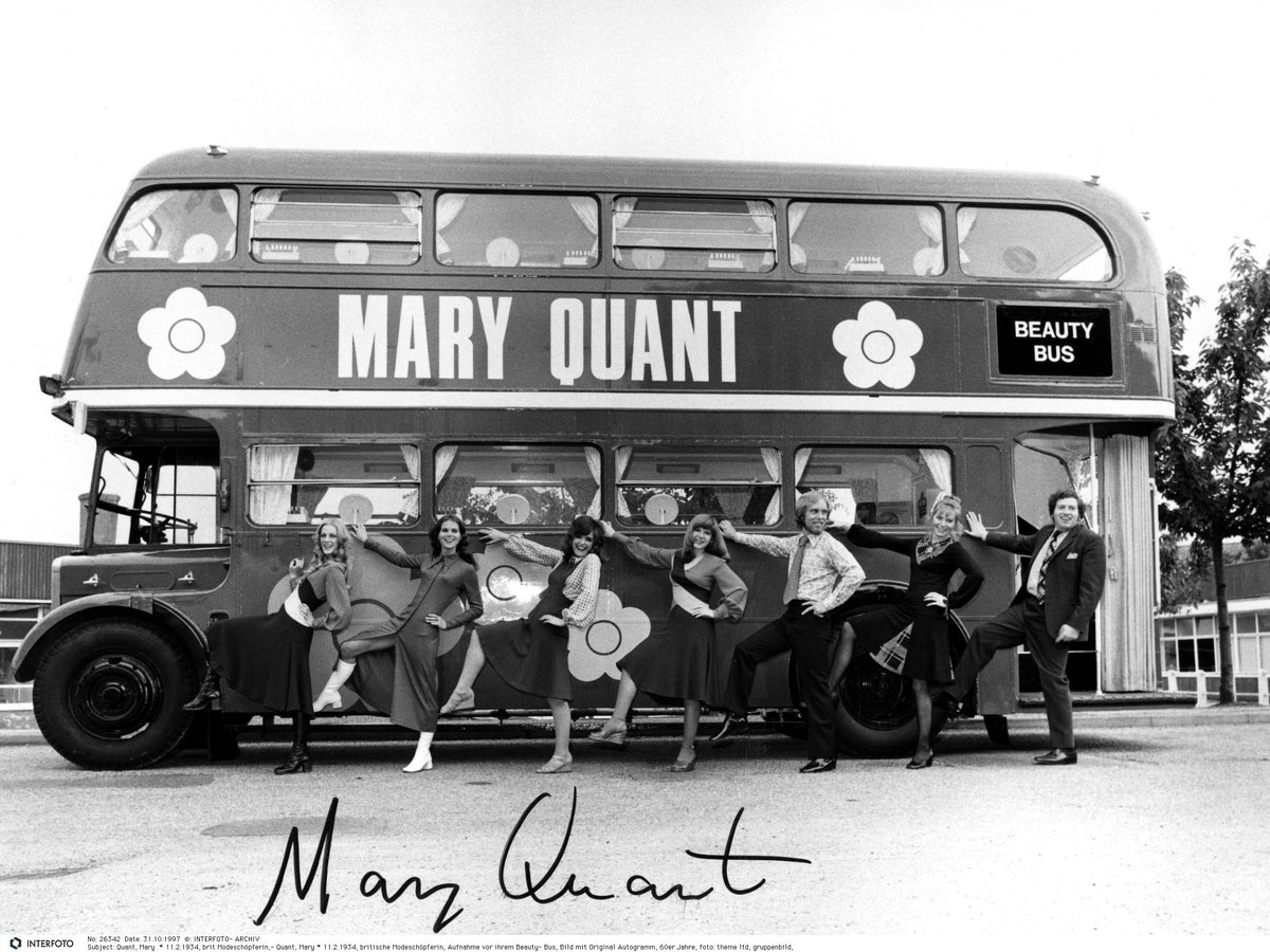 Quant, Mary, * 11.2.1934, British fashion designer, photograph of her Beauty Bus, 1960s, 20th centur...