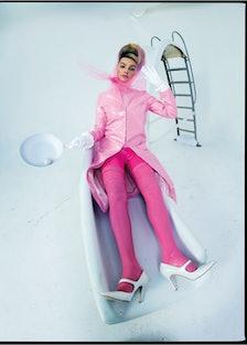 Staud coat; Giu Giu turtleneck; Vex Clothing tights; Urstadt Swan gloves; Manolo Blahnik shoes; styl...