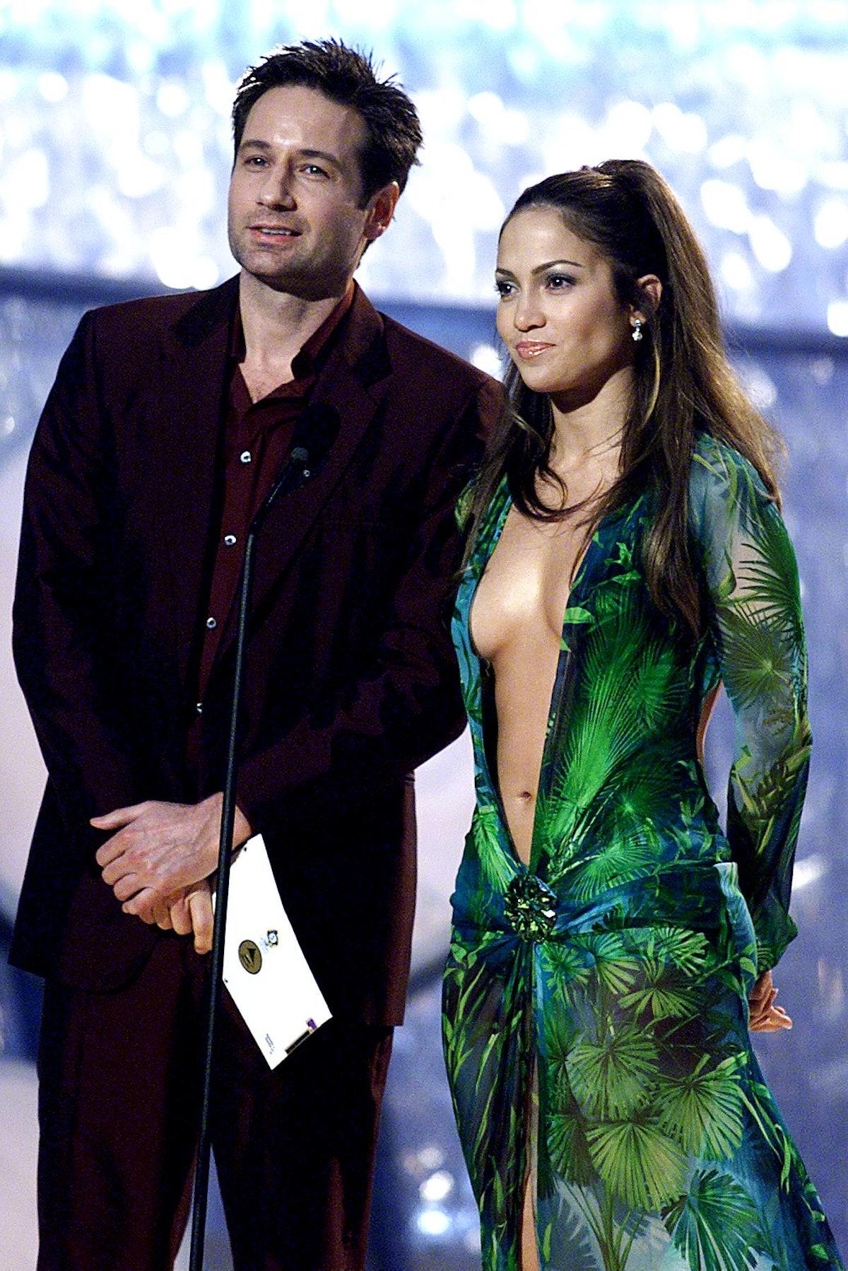 Actors Jennifer Lopez and David Duchovny present t