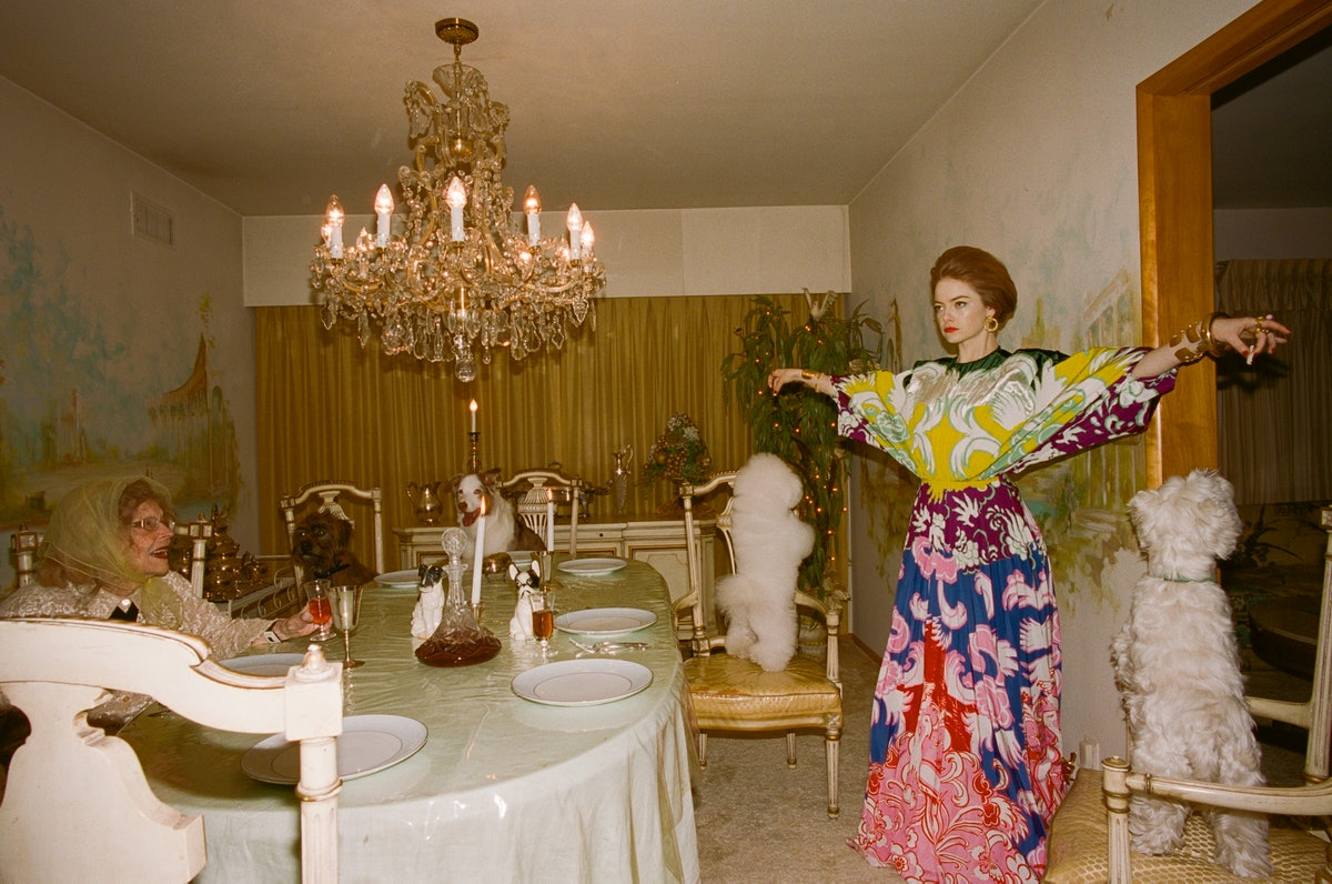 Valentino dress; David Webb earrings; rings: Carole Le Bris Perez (right hand), Elizabeth Locke, Ire...