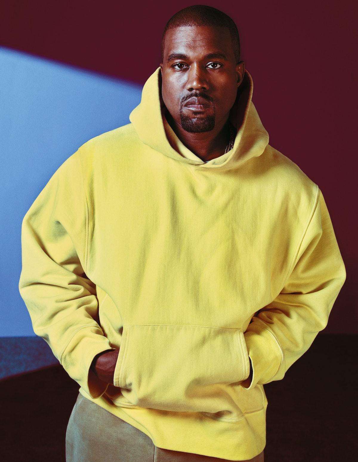 Kanye West wears Yeezy Season 3 hoodie and pants. Grooming: Clinique.