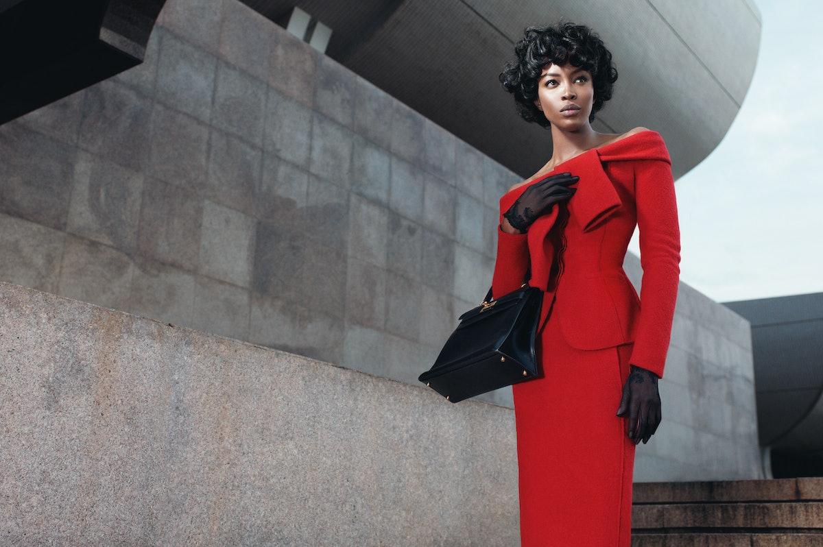 Nina Ricci jacket and skirt; Cornelia James gloves (throughout); Hermès bag.
