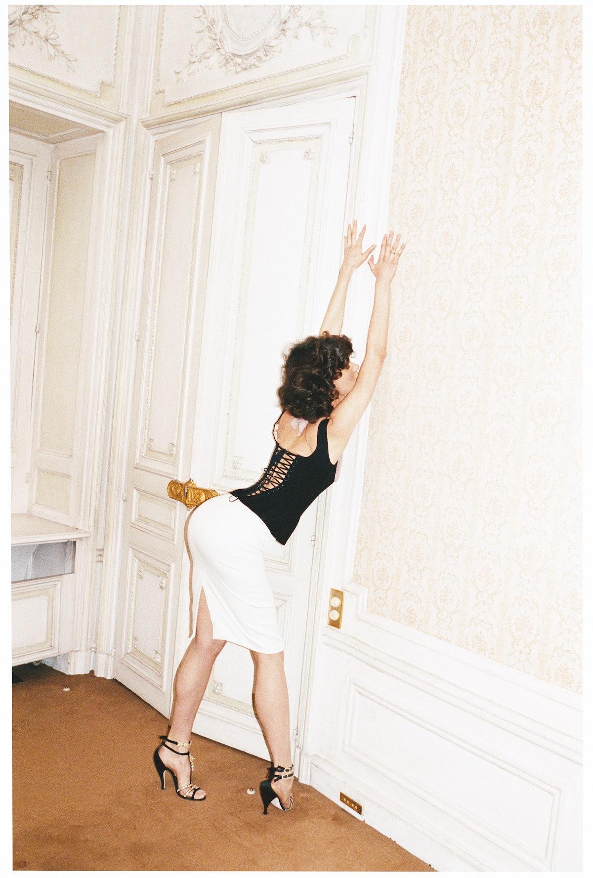 Gaultier Paris's wool corset and skirt, to order at Gaultier Paris, Paris. Christian Lacroix Haute C...