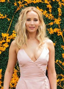 Jennifer Lawrence wearing dress by Rosie Assoulin attends