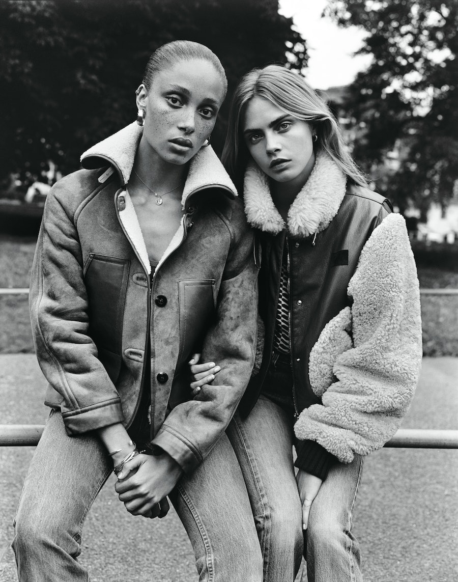 LEADERS OF THE PACKDelevigne's pal Adwoa Aboah, a Ghanaian-English actress and model who is the daughter of Camilla Lowther, the fiery owner of the creative agency CLM, wears Coach jacket; A.P.C. jeans; Elsa Peretti for Tiffany & Co. necklace; stylist's own tank top and earrings (throughout); photographer's own charm (throughout); model's own bracelets (throughout). Delevingne wears Hilfiger Collection jacket; Guess jeans; stylist's own tank top.