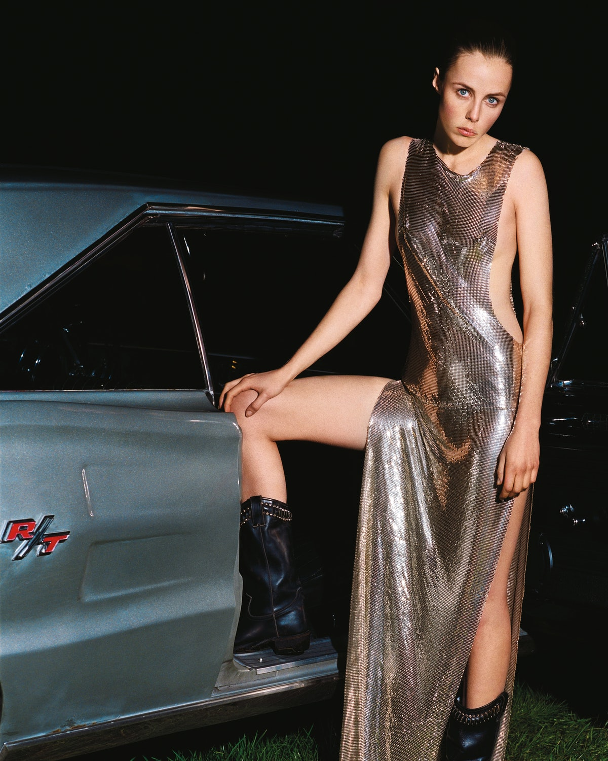 Philipp Plein gown; the Frye Company boots. Beauty note: Flash your cheeky side with YSL Beauté Face...