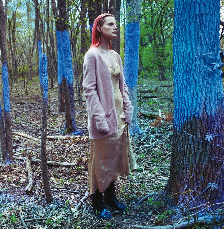 Saint Laurent by Hedi Slimane cardigan and boots; Marc Jacobs dress.