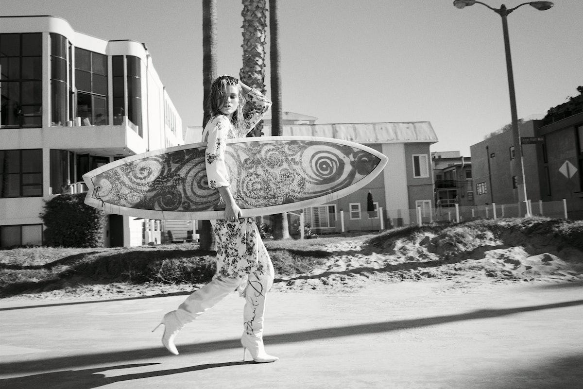 VETEMENTS DRESS; VETEMENTS X MANOLO BLAHNIK BOOTS.