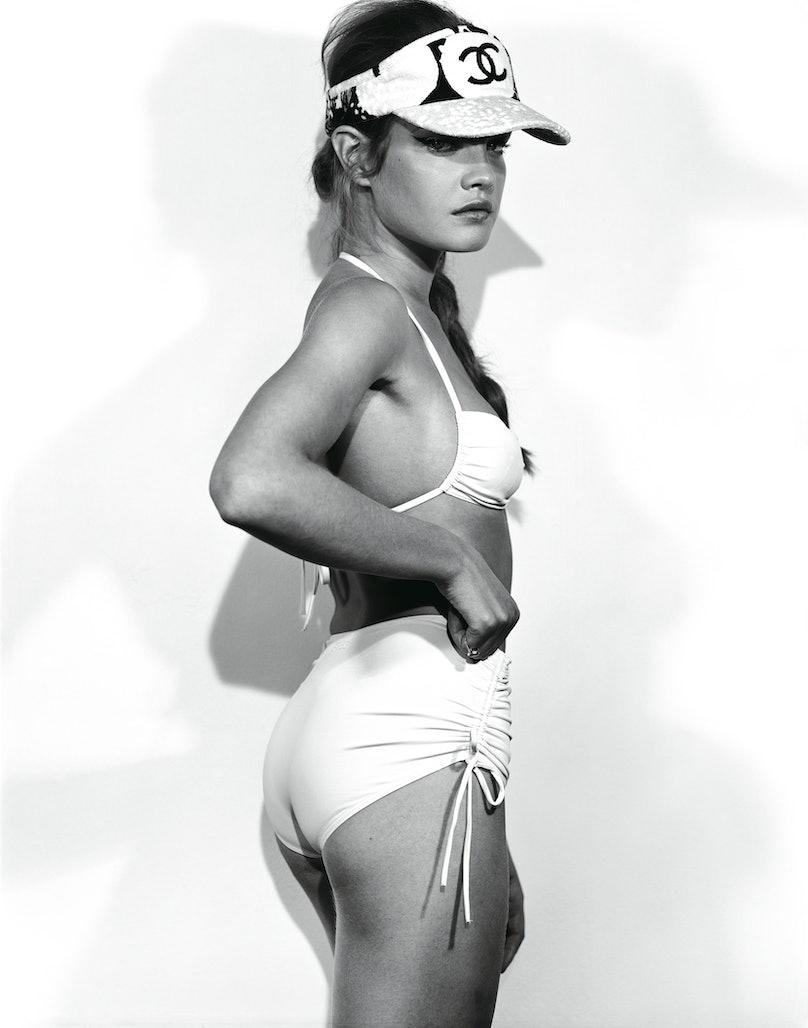 Eres's blush polyamide and spandex bikini, at Eres, New York and Palm Beach, 800.340.6004, www.eresparis.com. Chanel visor.