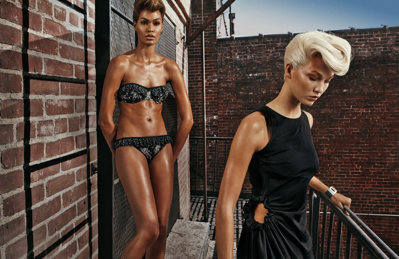 From left: Michael Kors bikini; Kavant & Sharart earring. Bottega Veneta dress. Beauty note: Pump up a pompadour with L'Oréal Paris Advanced Hairstyle Boost It Blow Out Heatspray.