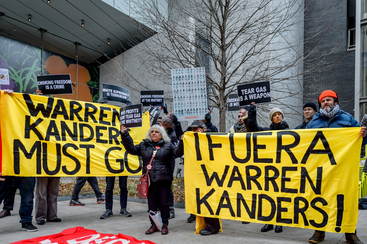 Activists took over the lobby at the Whitney Museum of