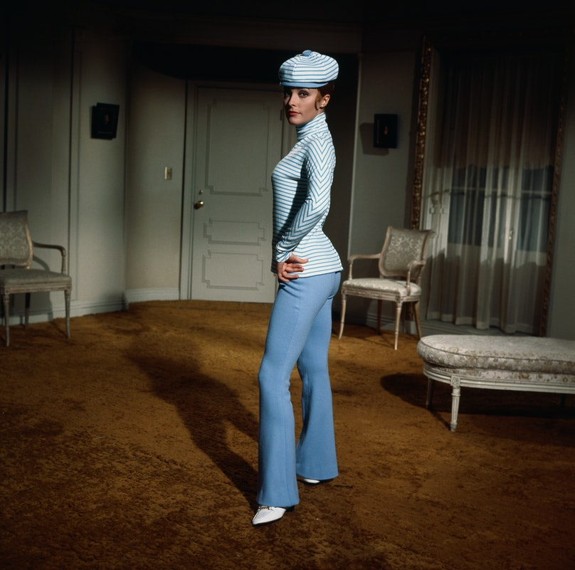 Sharon Tate Posing in a Blue Suit