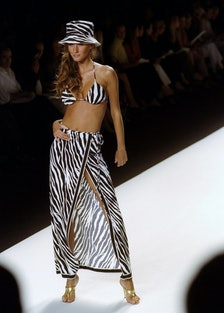 Model on the runway at Michael Kors fashion show in Bryant P