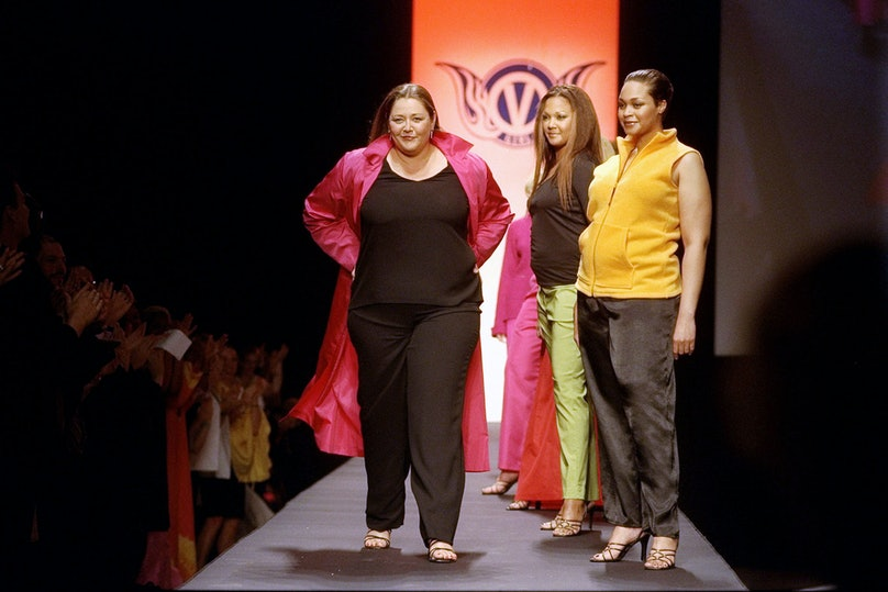 Camryn Manheim (left) with models on runway at end of the La