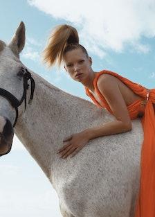 Hermès's silk jersey dress, at Hermès, 800.441.4488, hermes.com. Viktor & Rolf belt.Beauty Note: An ...