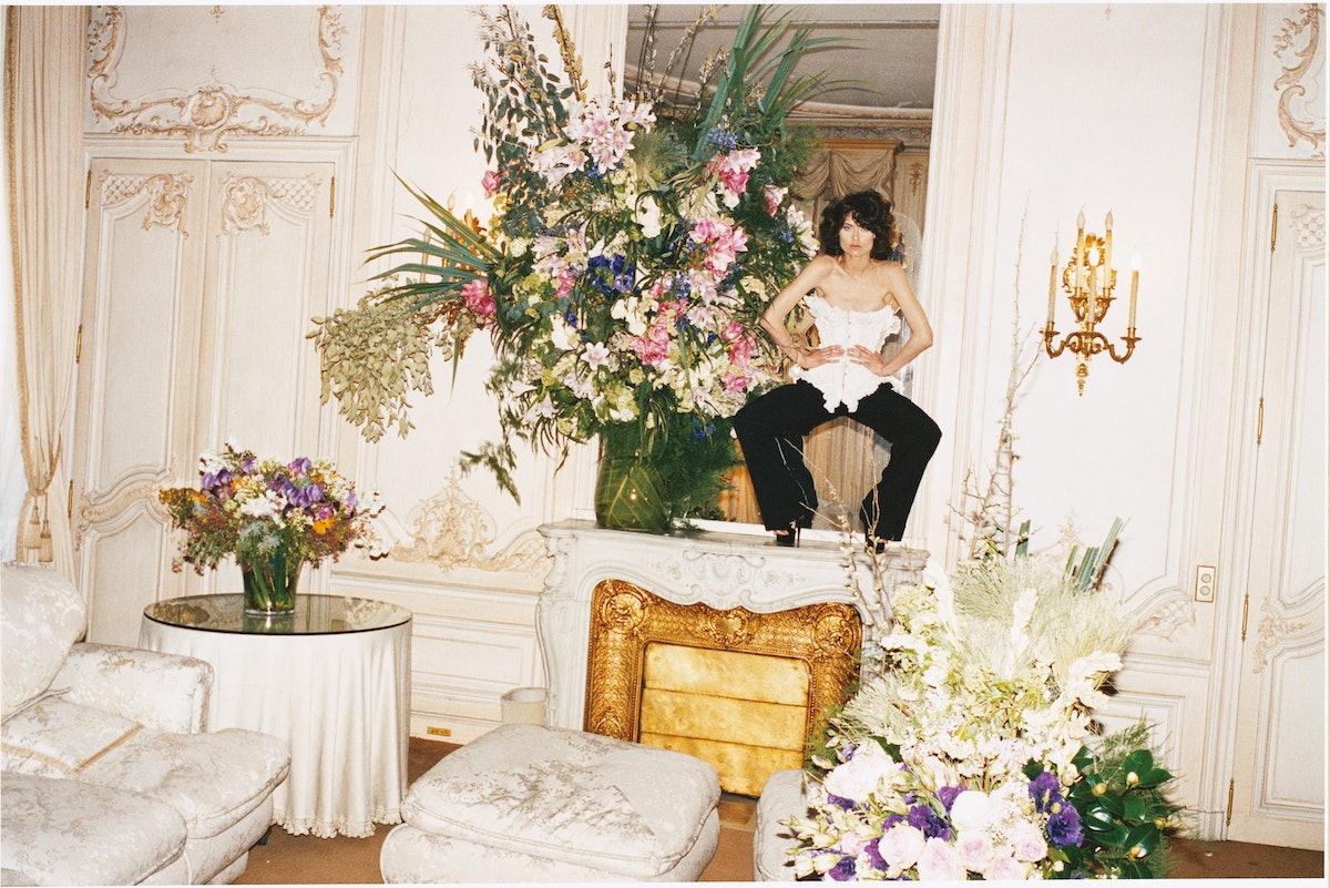 Gaultier Paris's silk corset and wool pants, to order at Gaultier Paris, Paris. Gaultier Paris shoes.