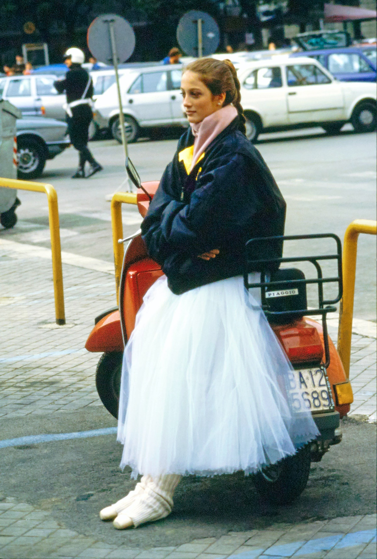 Julie Kent Leaning on a Scooter, Vogue