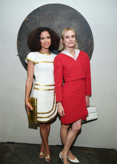 Gugu Mbatha-Raw and Diane Kruger attend Through Her Lens: The Tribeca CHANEL Women's Filmmaker Program Cocktail at Greenwich Hotel Penthouse on November 06, 2019 in New York City. (Photo by Dimitrios Kambouris/WireImage )