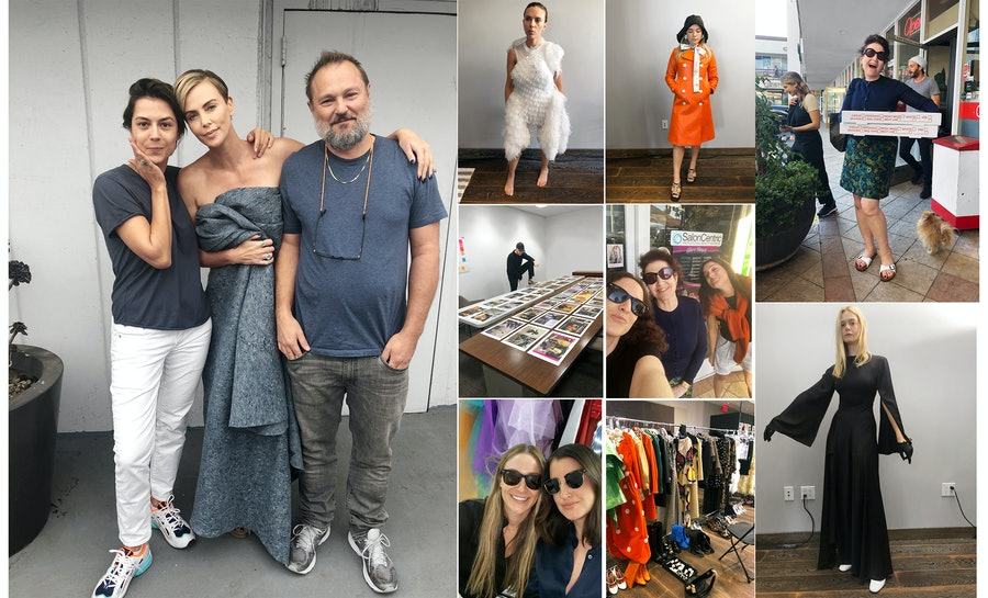Clockwise from far left: Behind the scenes of the Best Performances shoot, with the photographer Juergen Teller, his creative partner, Dovile Drizyte, and Charlize Theron; Scarlett Johansson; Florence Pugh; Editor at Large Lynn Hirschberg; Elle Fanning; Fashion Director Nora Milch and Visuals and Content Director Alexandra Ben-Gurion; Design Director Cian Browne; Editor in Chief Sara Moonves, Hirschberg, and Special Projects Editor Allia Alliata di Montereale.