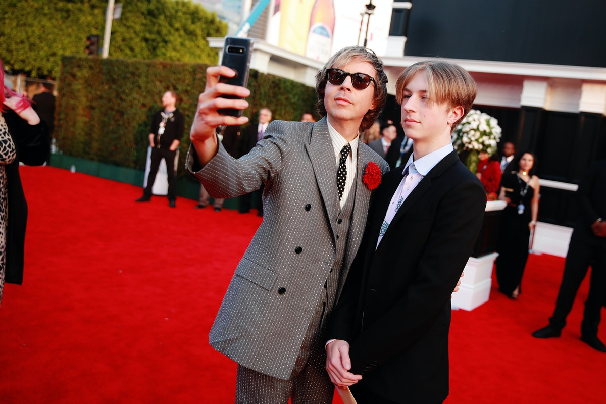 Beck taking a selfie with his son Cosimo