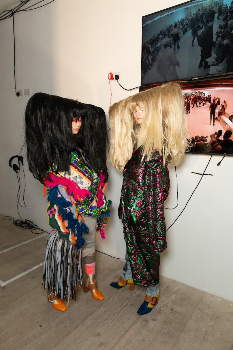 Models backstage at Matty Bovan