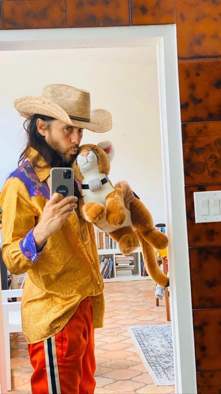 jared leto holding plush tiger