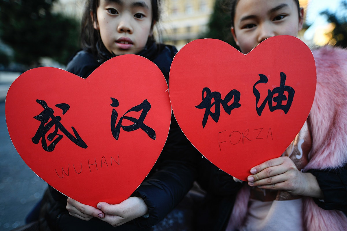 Children showing support amid the coronavirus outbreak
