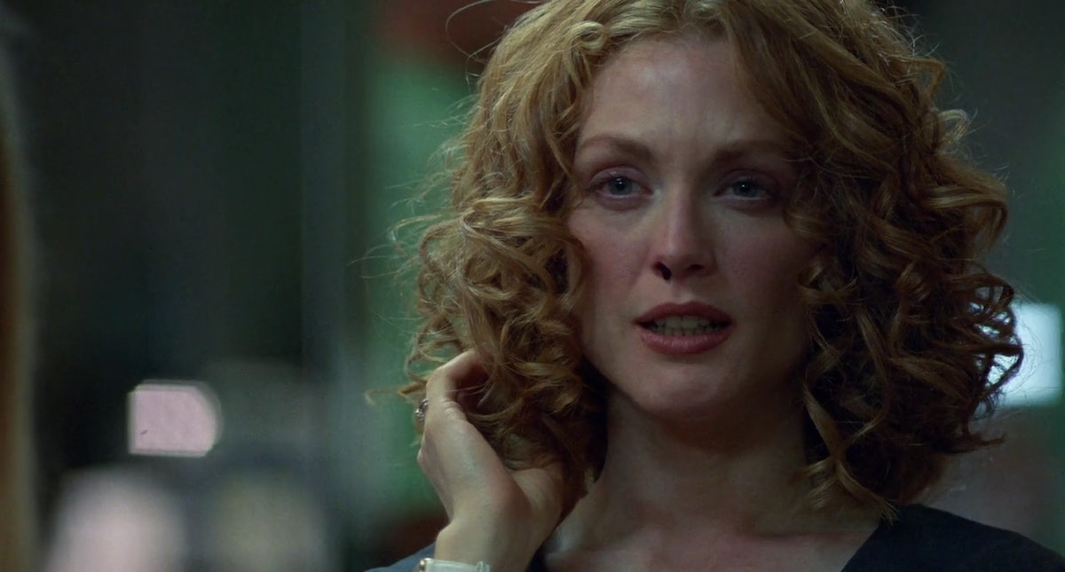 Julianne Moore with a perm and nose bleed.