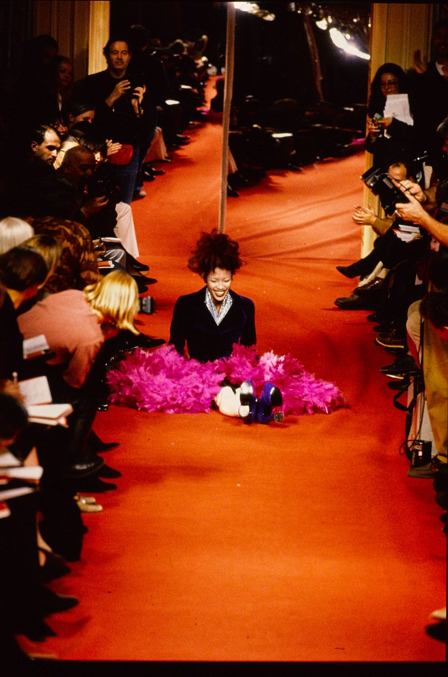 Naomi Campbell falls on the Vivienne Westwood runway