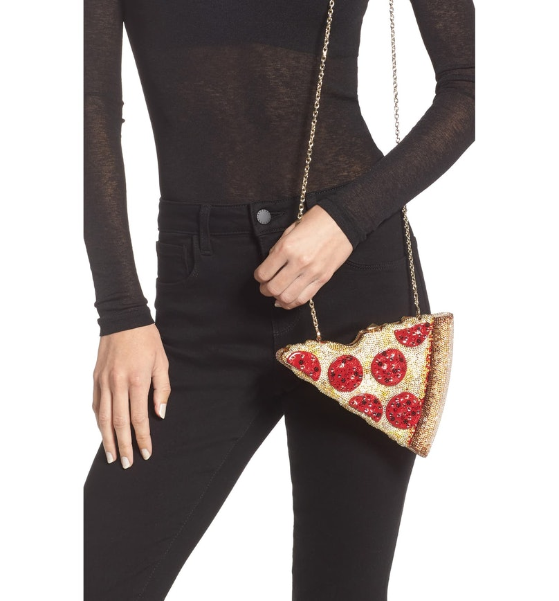A pizza-shaped clutch on sale at Nordstrom
